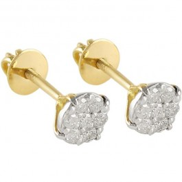 VP Jewels 18K Solid Gold And 0.14Ct Genuine Diamond Solitaire Screw Back Earrings
