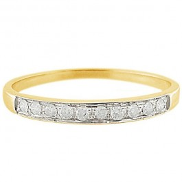Vera Perla 10k Solid Yellow Gold 0.10KTS Genuine Diamonds Eternity Ring