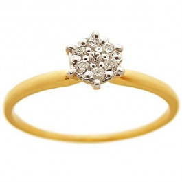 VP Jewels 22K Solid Yellow Gold 0.07ct Genuine Diamonds Solitaire Ring (Size US 6.5)
