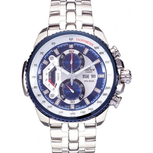 Casio Edifice Ef-558D-2Avdf SilverBlue Chronograph Watch