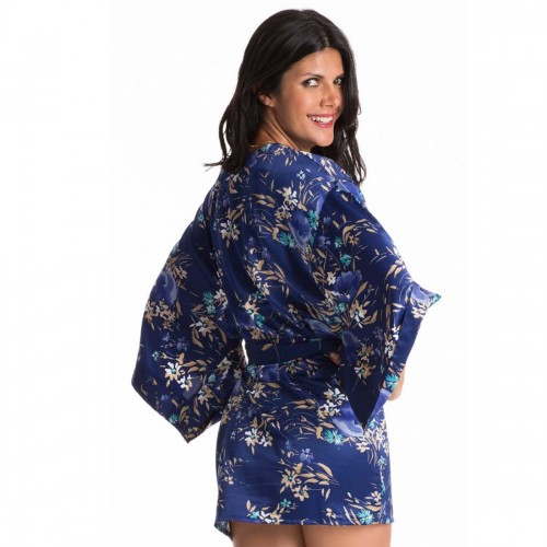 Prettysecrets Navy Turq Floral Kimono Wrap