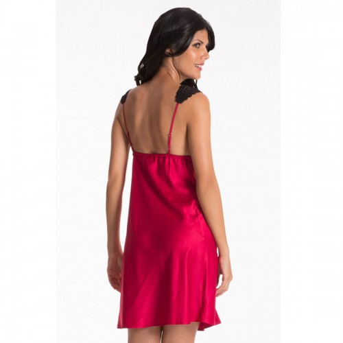 Prettysecrets Red Lace-Trim Short Chemise