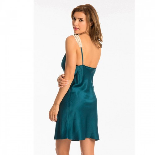Prettysecrets Teal Gold Lace-Trim Short Chemise
