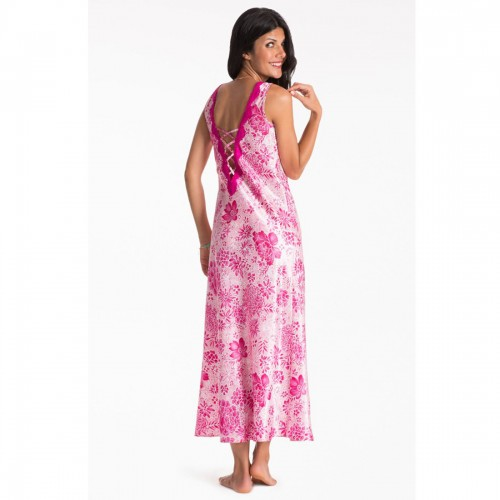 Prettysecrets Fuschia Floral Long Night Dress