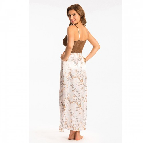Prettysecrets Ivory Multi Color Floral Lace Long Nightdress