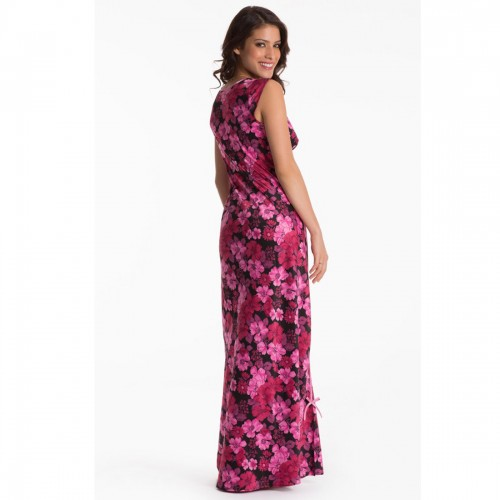 Prettysecrets Black Scarlet Floral Long Nightdress