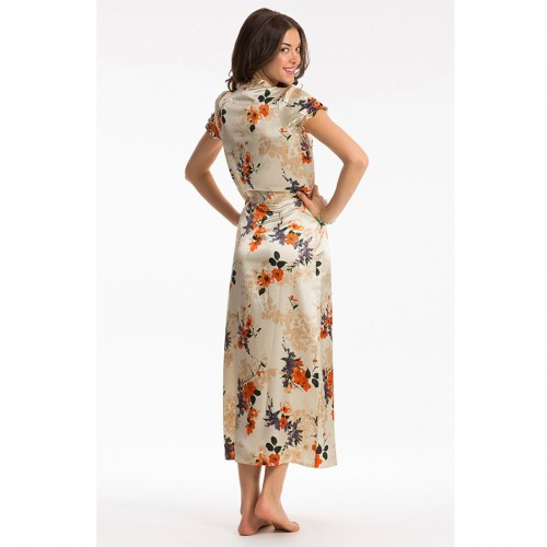 Prettysecrets Orange Floral Long Night Dress
