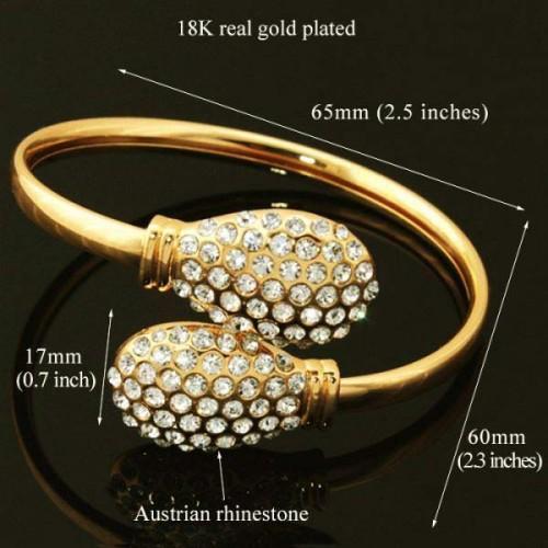 18k Real Gold Plated Diamond cut Austrian Swarovski Rhinestone Elegant Cuff Bracelet