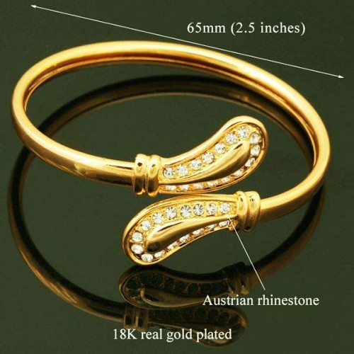 18k Real Gold Plated Diamond cut Austrian Swarovski Rhinestone Elegant Cuff Bracelet (Bangle)