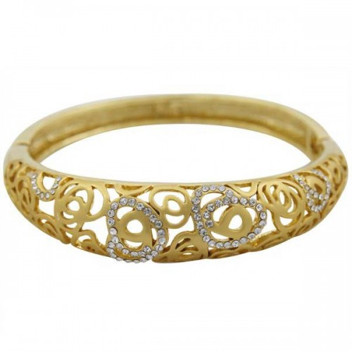 Golden Essentials 22K Gold Plated Heart Maze Design Bangle Bracelet