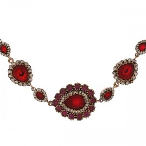 Istanbul Old Bazaar Women's Sterling Silver Oval-Shaped Ruby Stone Bracelet
