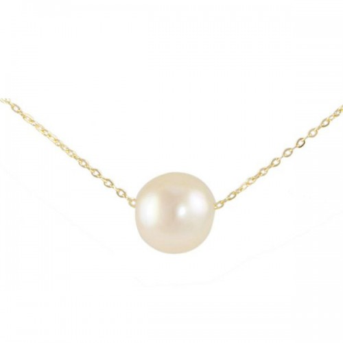 Vera Perla 10K Yellow Gold 7MM White Pearl Pendant Necklace