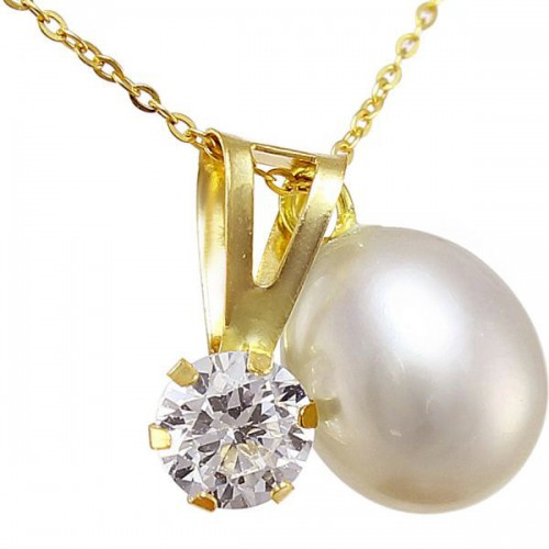 VP Jewels 18k Solid Gold 7mm White Pearl and Cubic Zircon Solitaire Pendant Necklace
