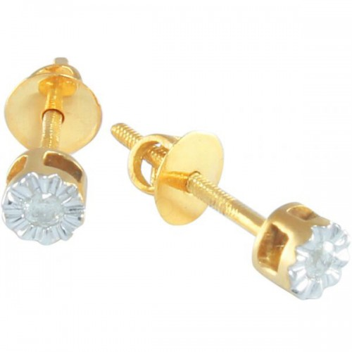 Vera Perla 10k Solid Gold and 0.05CT Genuine Diamond Solitaire Screw Back Earrings