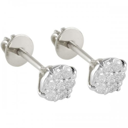VP Jewels 18K Solid White Gold and 0.14ct Genuine Diamonds Solitaire Screw Back Earrings