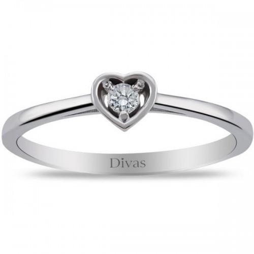 Divas Diamond 925 Sterling Silver 0.06ct Genuine Diamond Heart Solitair Ring - Size US 7