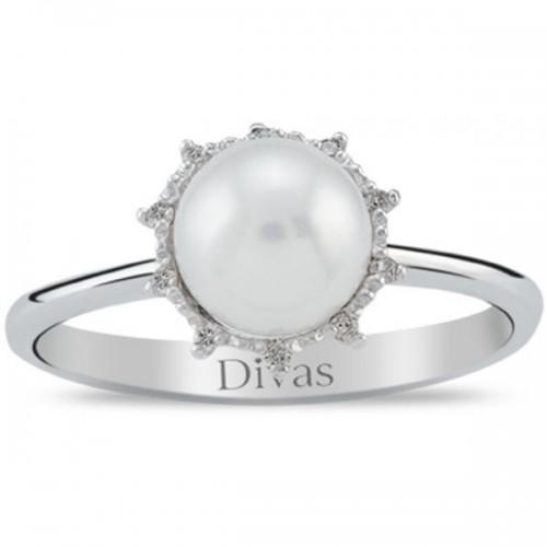Divas Diamonds Pearl Flower Ring - Size US 7