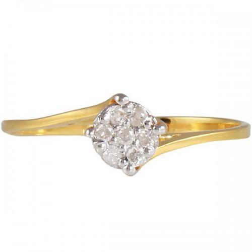 Vera Perla 10k Gold 0.07KTS Genuine Diamond Twisted Ring