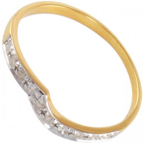 Vera Perla 10k Gold 0.10KTS Genuine Diamond Ring -Size 6 US