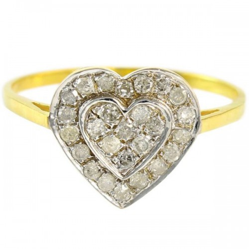 VP Jewels 10K Solid Gold 0.26ct Genuine Diamond Heart Ring - Size US 6.5