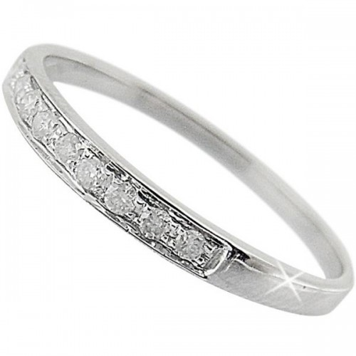 VP Jewels 18K Solid White Gold 0.10ct Genuine Diamonds Eternity Band Ring - Size US 6.5