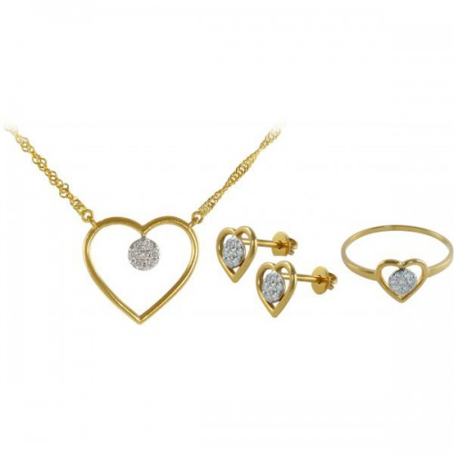 VP Jewels 18k Solid Gold 0.28ct Diamond Solitaire Necklace, Earrings And Ring Set