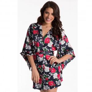 Prettysecrets Navy Fuschia Floral Kimono Wrap