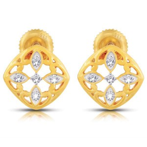 11 Diamonds - 18K Gold Plated Sterling Silver Earring with 0.05ct Diamonds
