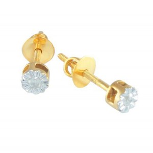 Vp Jewels 18K Solid Gold 0.04ct Genuine Diamond Solitaire Screw Back Earrings
