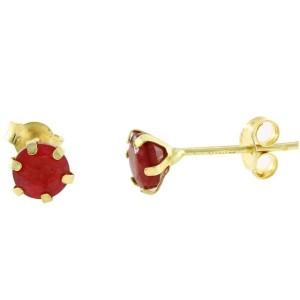 Vp Jewels 18K Solid Gold 4mm Genuine Ruby Earrings