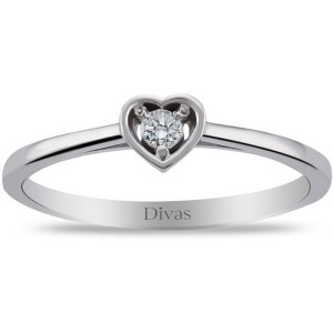 Divas Diamond 925 Sterling Silver 0.06ct Genuine Diamond Heart Solitair Ring - Size US 7