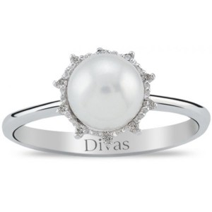 Divas Diamonds Pearl Flower Ring - Size US 7