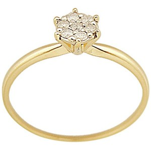 VP Jewels 18K Solid Gold 0.07ct Genuine Diamonds Solitaire Ring - Size 6.5 Us