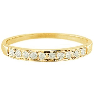 VP Jewels 18K Solid Yellow Gold 0.10Ct Genuine Diamonds Eternity Band Ring - Size US 6.5