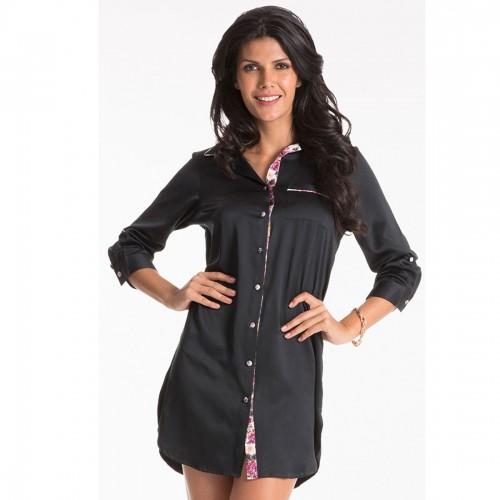 Prettysecrets Black Button Front Satin Sleepshirt