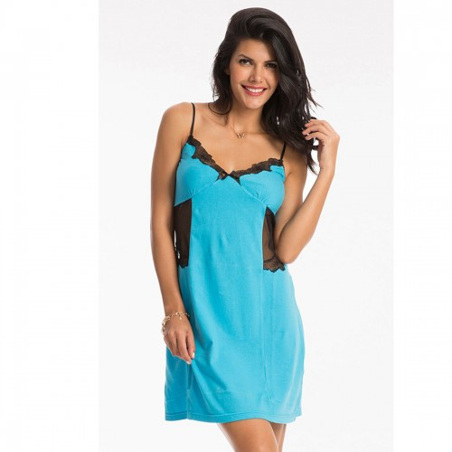 "Prettysecrets Aqua ""Temptation"" Cotton Short Chemise"