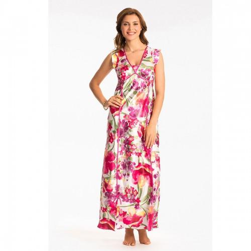 Prettysecrets Ivory Multi Floral Long Nightdress