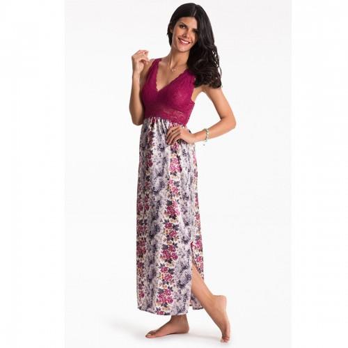 Prettysecrets Berry Animal Lace Long Night Dress