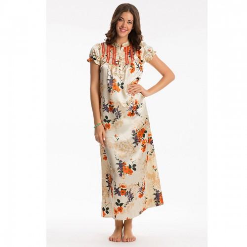 Prettysecrets Orange Floral Long Night Dress