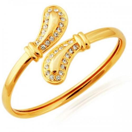 18k Real Gold Plated Diamond cut Austrian Swarovski Rhinestone Elegant Cuff Bracelet (Bangle)