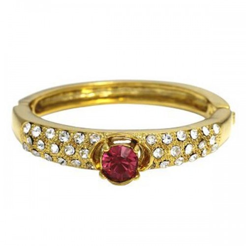 Golden Essentials 22K Gold Plated Precious Pink Baby Bangle with Cz Simulated Diamonds