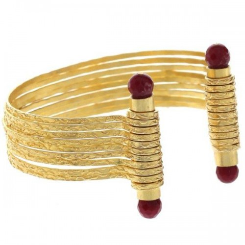 Istanbul Old Bazaar Women's 24K Gold Plated Ruby Stone Cuff Bangle