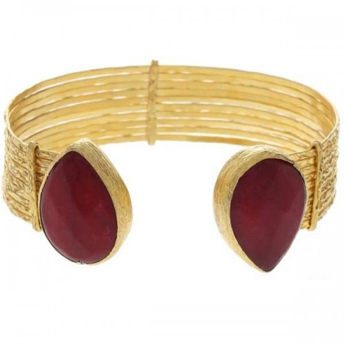 Istanbul Old Bazaar Women's 24K Gold Plated Ruby Stone Cuff Bangle Design