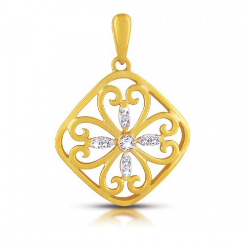 11 Diamonds - 18K Gold Plated Sterling Silver Pendant with 0.04ct Diamonds