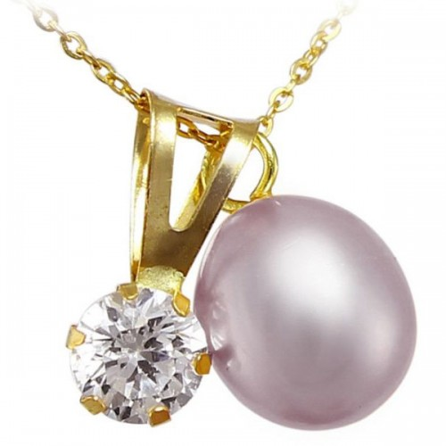 Vp Jewels 18K Solid Gold 7mm Purple Pearl with Cz Solitaire Pendant Necklace
