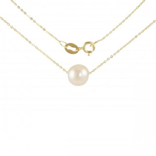 Vp Jewels 18K Solid Gold Simple 7mm White Pearl Pendant Necklace