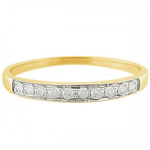 Vera Perla 10k Solid Yellow Gold 0.10KTS Genuine Diamonds Eternity Ring