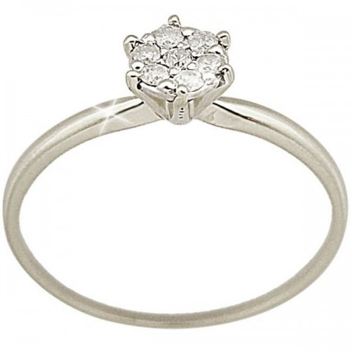 Vp Jewels 18K Solid White Gold 0.07ct Genuine Diamond Solitaire Ring - Size US 6.5
