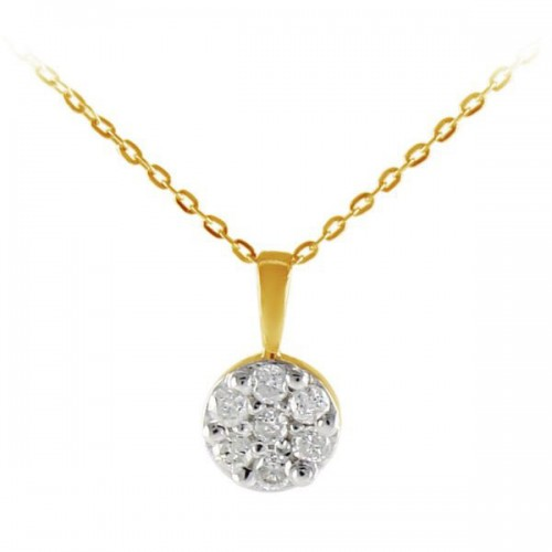 VP Jewels 18K Solid White And Yellow Gold 0.07ct Genuine Diamonds Solitaire Necklace