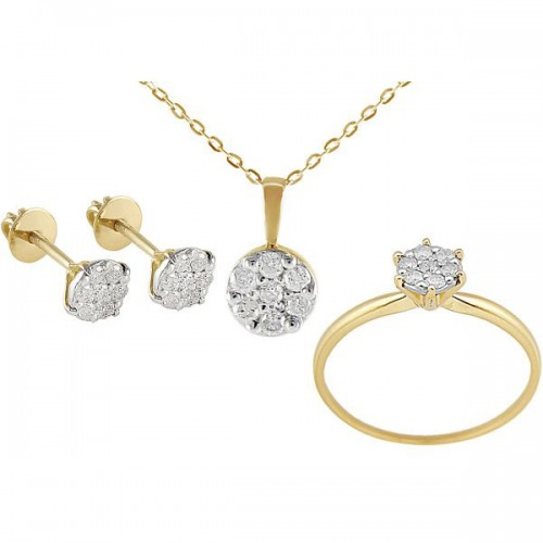 VP Jewels 18k Solid Gold 0.28ct Diamonds Heart Earrings, Ring and Necklace Set